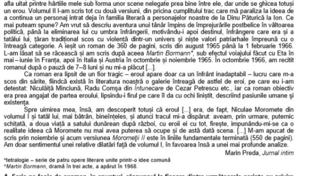 SUBIECTE Bacalaureat 2020 Română. Avem subiectele la limba și literatura română. Baremul de corectare - Imaginea 3