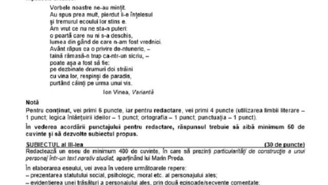 SUBIECTE Bacalaureat 2020 Română. Avem subiectele la limba și literatura română. Baremul de corectare - Imaginea 10