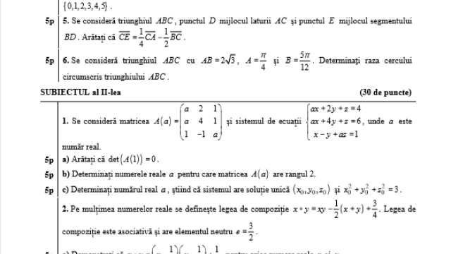 Subiecte BAC 2020 Istorie și Matematică. Avem subiectele care au picat azi și baremele de corectare - Imaginea 1