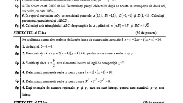 Subiecte BAC 2020 Istorie și Matematică. Avem subiectele care au picat azi și baremele de corectare - Imaginea 3