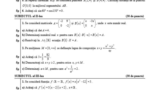 Subiecte BAC 2020 Istorie și Matematică. Avem subiectele care au picat azi și baremele de corectare - Imaginea 5