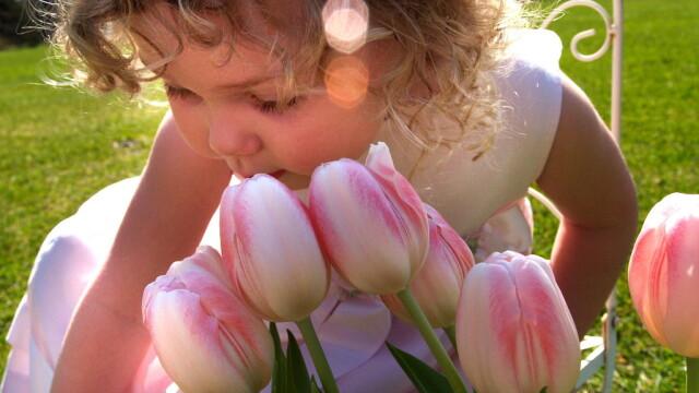primavara, copil in parc, lalele