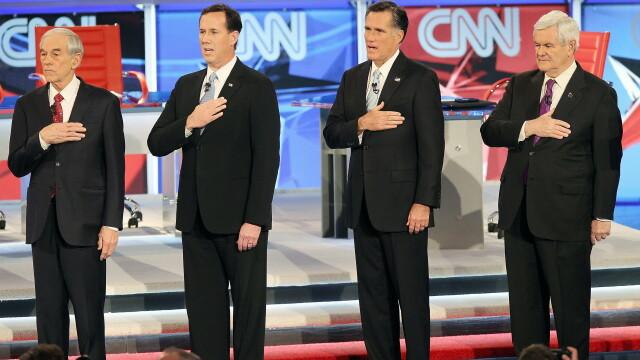 Ron Paul, Rick Santorum, Mitt Romney si Newt Gingrich