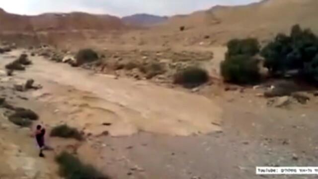 Aparitie neobisnuita in desertul Israelului. Un râu care secase de multi ani reapare intr-o zona biblica
