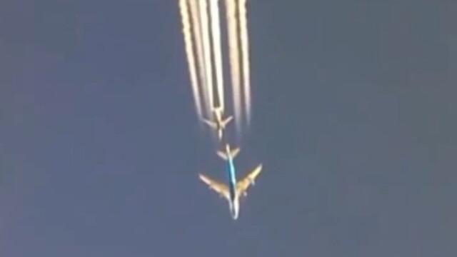 Cursa de mare viteza intre doua avioane Boeing cu pasageri la bord. Imagini spectaculoase filmate de un capitan. VIDEO