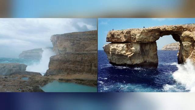 Monument simbol din Malta distrus de o furtuna puternica. \