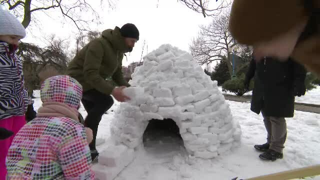 Bucureștenii au fost chemați să se joace în zăpadă, în Parcul Circului