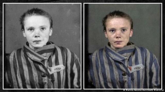 Czesława Kwoka, poza restaurata, Auschwitz-Birkenau