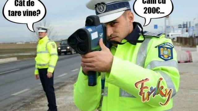 """Gluma postată de polițiști pe Facebook: """"Cât de tare vine? Cam cu 200 euro"""""""