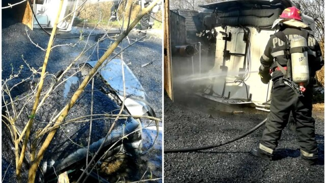 Șofer ars de bitumul fierbinte căzut dintr-un camion răsturnat
