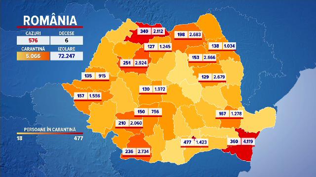 harta cazurilor de coronavirus in Romania
