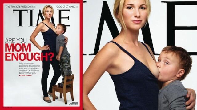 O femeie isi alapteaza copilul de PATRU ani pe coperta provocatoare a revistei Time