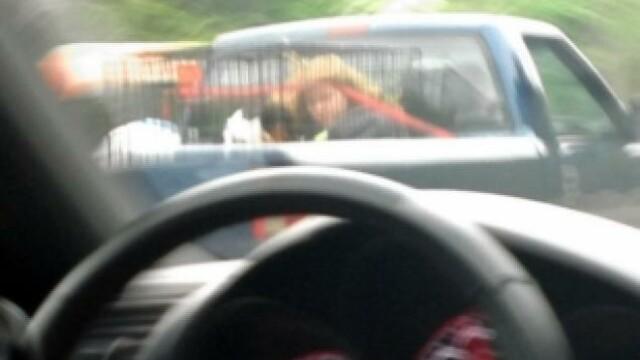 Imaginea surprinsa de un sofer in trafic, care a dus la arestarea unor parinti. FOTO