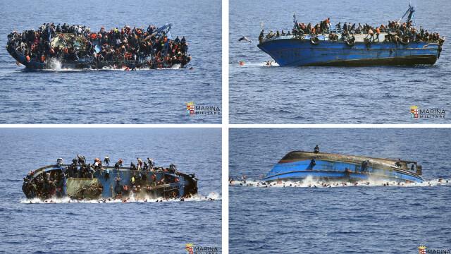 Momentul in care o ambarcatiune cu sute de migranti se rastoarna in largul coastei libiene. Sunt cel putin sapte morti. FOTO