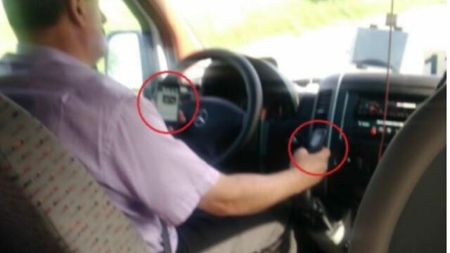 Șoferul filmat butonând două telefoane în timp ce conducea, audiat. Ce riscă