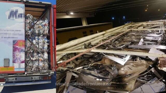 Peste 59 de tone de deşeuri au fost descoperite de polițiștii din Giurgiu în trei TIR-uri