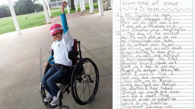 Scrisoarea care a lasat juriul in lacrimi. Ce mesaj ii transmite o fetita celui care a paralizat-o