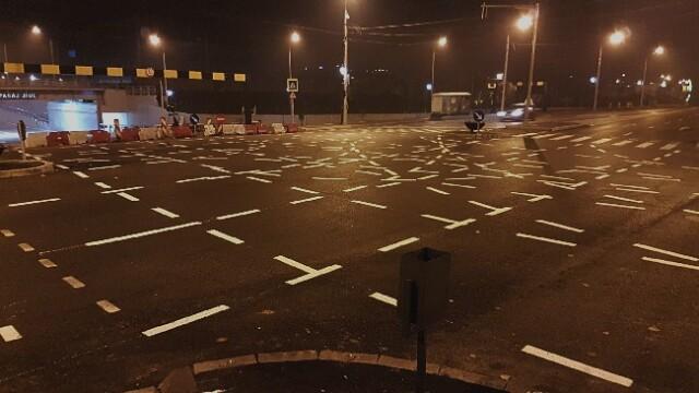 Marcaje de neînțeles într-o intersecție din Timișoara. Șoferii fac glume pe Facebook