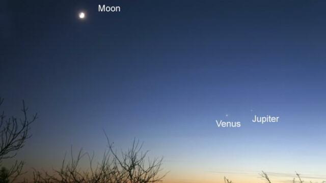 Planetele Jupiter și Venus, surprinse foarte aproape una de cealaltă