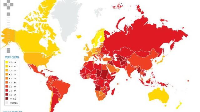 Harta celor mai corupte tari in 2011