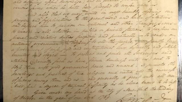 O copie a actului prin care George Washington a creat Sarbatoarea Recunostintei, scoasa la licitatie