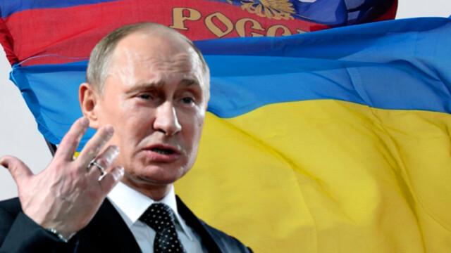 Putin cu steag UCraina si Rusia
