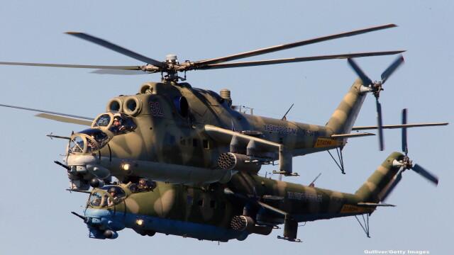 Scene REALE cu razboiul din Siria. Momentul in care elicopterele rusesti lanseaza bombe asupra tintelor \
