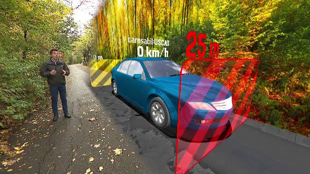 ANIMAȚIE GRAFICĂ. Cum reacționează mașina când circulăm pe un drum acoperit de frunze