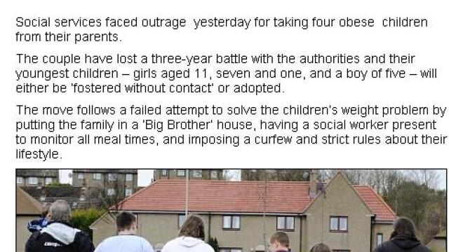 Caz incredibil in Anglia. Ce patesc acesti parinti pentru ca si-au lasat copiii sa devina obezi