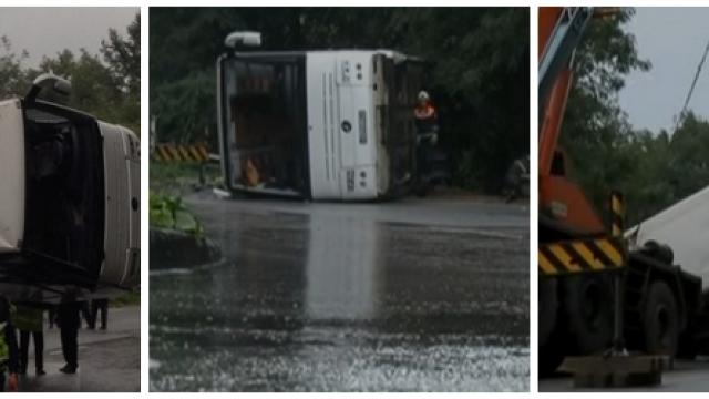 FILMUL accidentului din Bulgaria. Ipotezele politiei locale dupa ce un autocar cu 25 de romani a cazut intr-o râpă