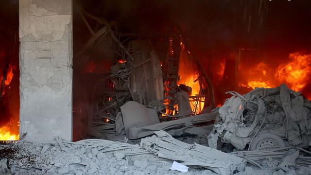 Lacrimi si sange in orasul Alep din Siria: