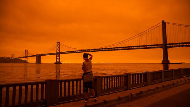 """""""Parcă m-am trezit pe Marte"""". Imagini post-apocaliptice cu cerul roșu din California - Imaginea 5"""