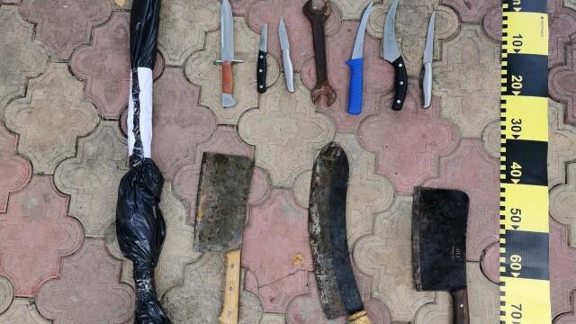 Averea fabuloasă găsită la clanul Sadoveanu. Zeci de macete, sărbii și cuțite, confiscate de polițiști - Imaginea 4