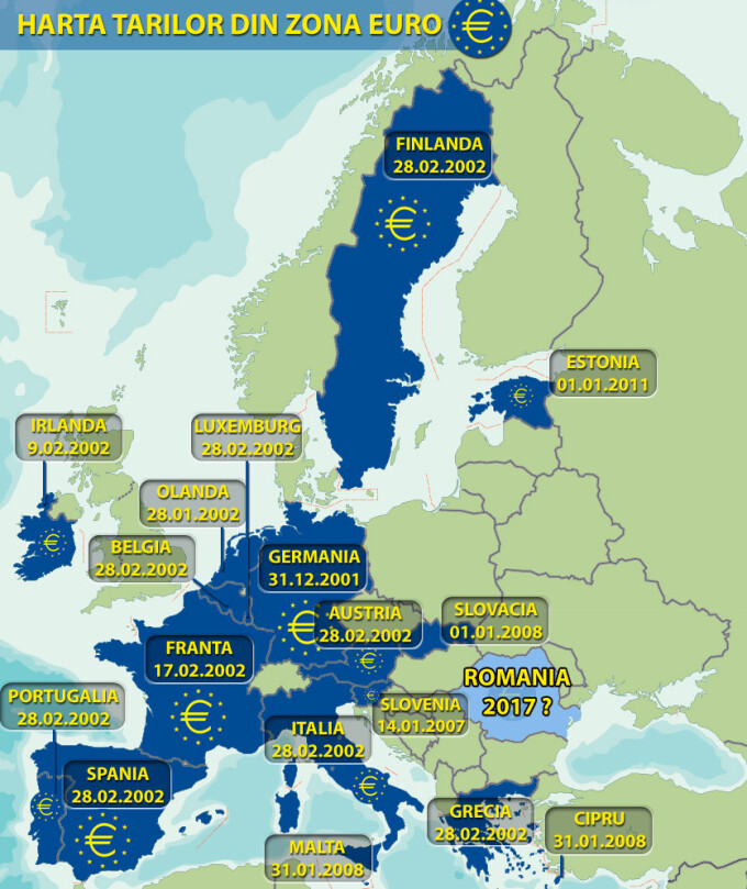 Harta tarilor din Zona Euro