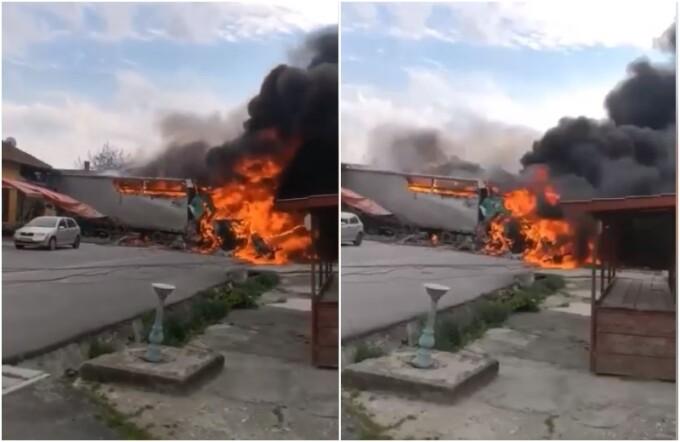 Un TIR a luat foc în urma unui accident, pe DN6