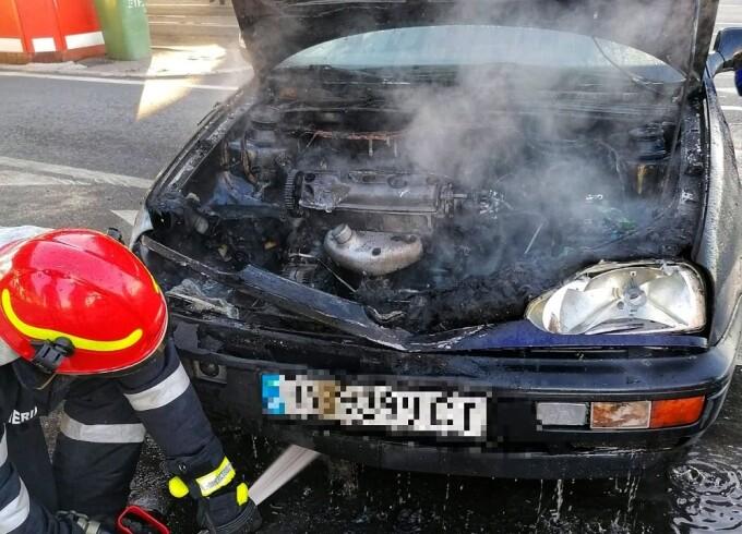 Incendiu în Vama Giurgiu. Autoturismul unui cetățean bulgar a luat foc