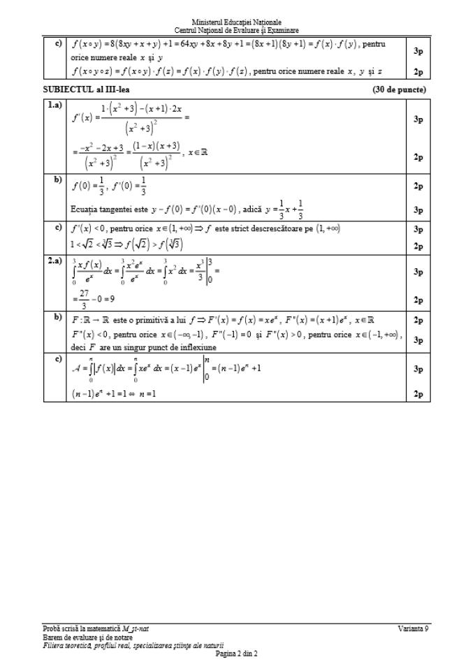 Subiecte și barem de corectare BAC 2018 la matematică