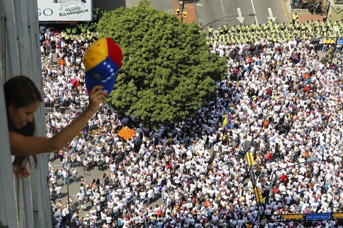 Manifestatie de sustinere a lui Leopoldo Lopez, in Venezuela