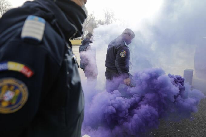Protest al sindicatului polițiștilor la Cotroceni
