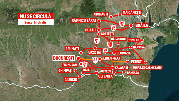 Harta Drumurilor Nationale Impracticabile Din Cauza Viscolului
