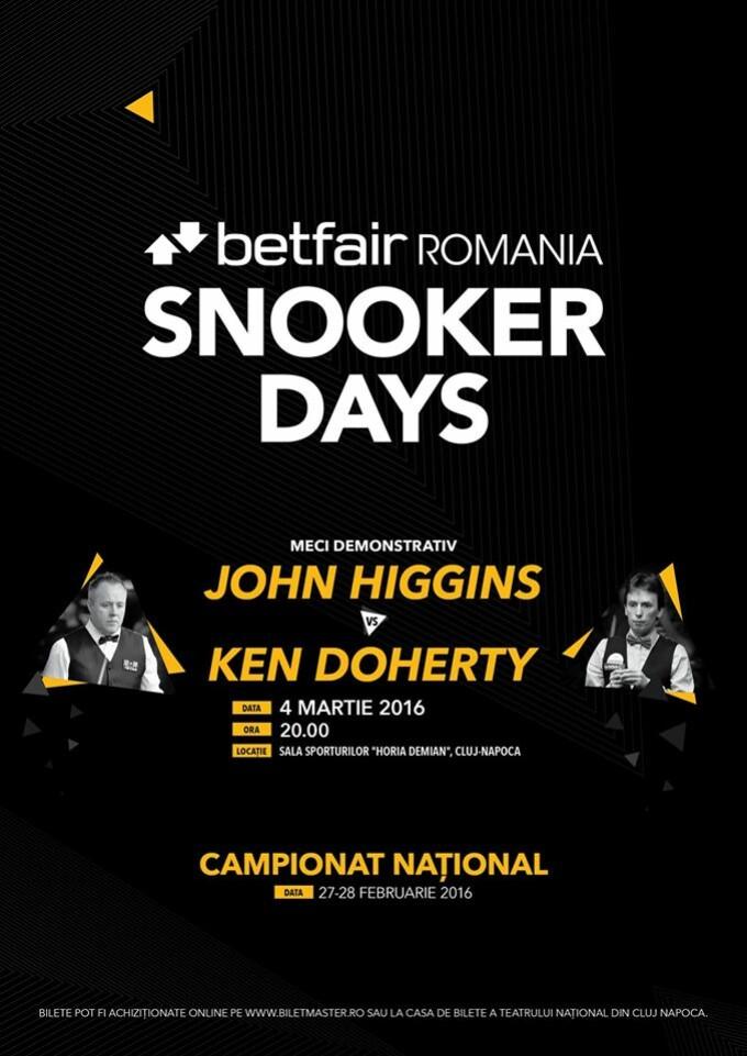 Snooker de talie mondiala in martie la Cluj. John Higgins si Ken Doherty vin la BETFAIR ROMANIA SNOOKER DAYS
