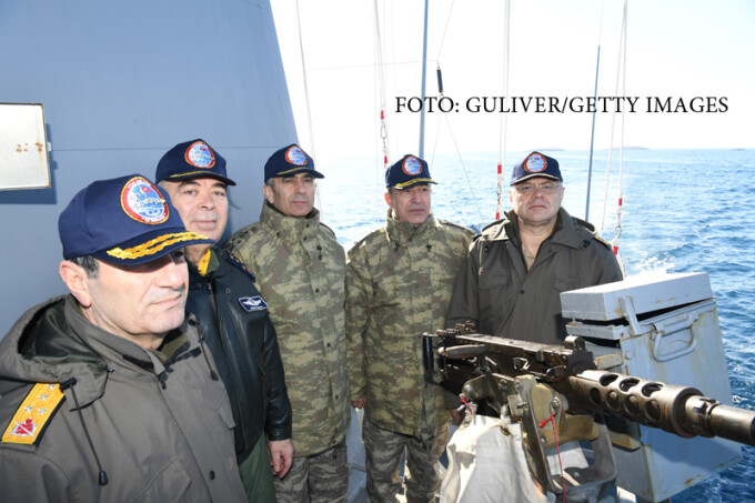 Chief of General Staff of Turkey, Hulusi Akar (right 2) visits the naval ships of the Aksaz Naval Base, a base of the Turkish Navy on the south-east coast of the Aegean Sea in Marmaris, Mugla, on January 29, 2017