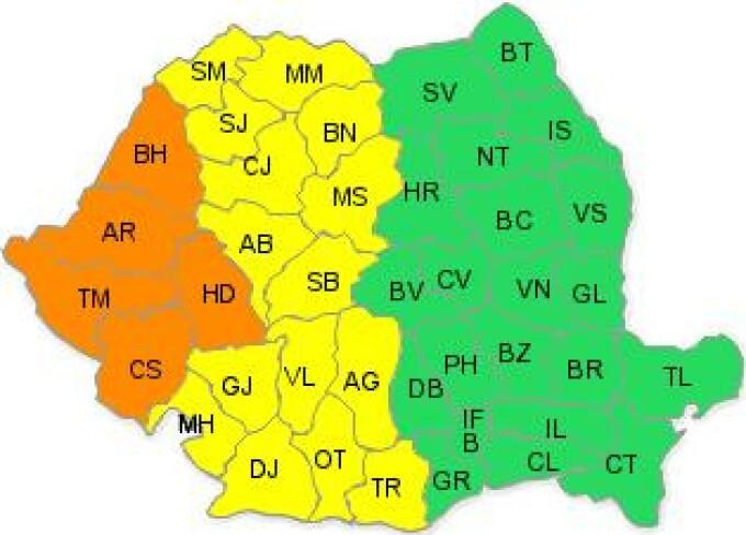 Cod portocaliu de ploi in partea de vest a Romaniei