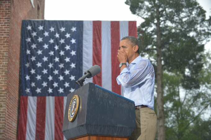 Obama in ploaie