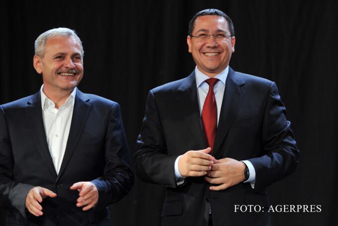 Victor Ponta si Liviu Dragnea, razand, in campania electorala 2014 FOTO AGERPRES