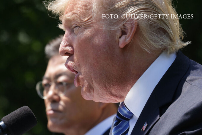 President Donald Trump and South Korean President Moon Jae-in deliver joint statements in the Rose Garden of the White House