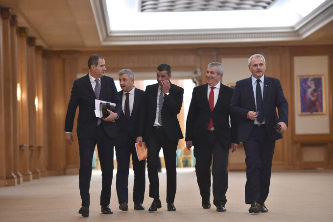 PSD, Marian Neacsu, secretar general al PSD, Florin Iordache, propus ministru al Justitiei, premierul desemnat Sorin Grindeanu, copresedintele ALDE Calin Popescu-Tariceanu si Liviu Dragnea, presedintele PSD