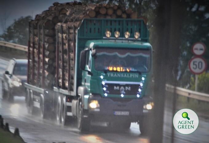 Cel mai încărcat camion cu lemn depistat vreodată în România. Unde se îndrepta