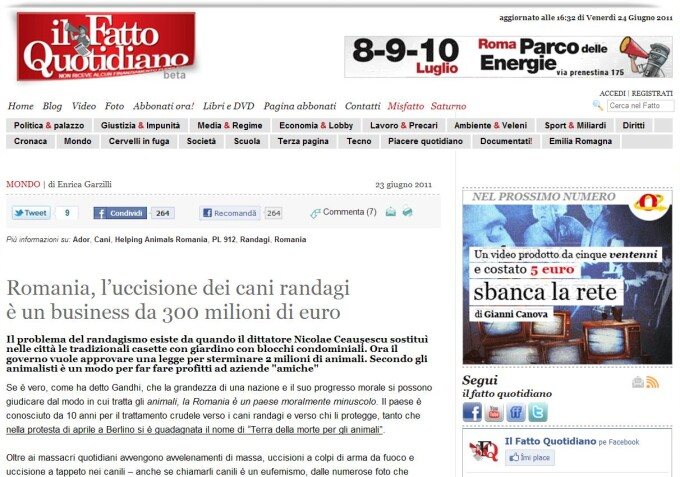 Italienii ne considera o tara cu o moralitate indoielnica. Cati bani ies din eutanasierea cainilor