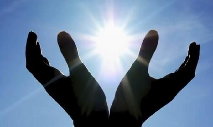 maini, soare, rugaciune